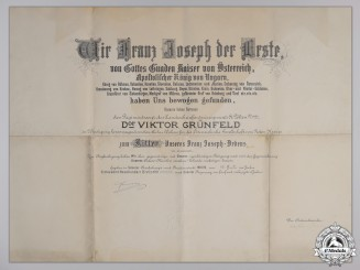 A Large Franz Josef Award Document to Regiment Doctor 1913