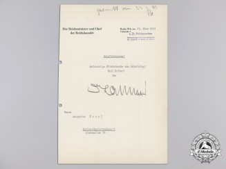 A Letter to Hevel Signed Reich Chancellery Head Hans Lammers