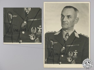 A Luftwaffe General Kurt L. Pflugbeil Signed Photograph