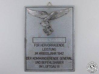 A Luftwaffe Honour Plaque for Named to a Lieutenant Colonel in 1942