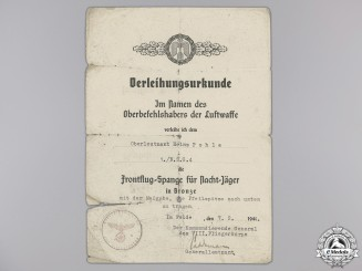 A Luftwaffe Long Range Night Fighter Award Document