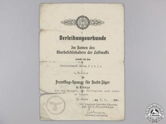 A Luftwaffe Long Range Night Fighter Award Document