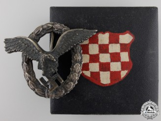 A Luftwaffe Pilot's Badge by Brüder Schneider to Croatian Pilot