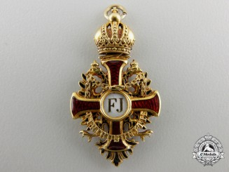 A Miniature Austrian Order of Franz Joseph in Gold