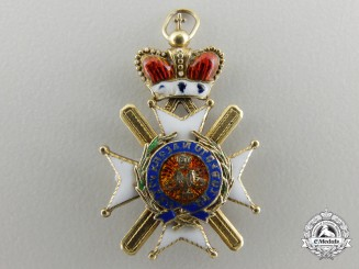 A Miniature Serbian Order of Takovo in Gold