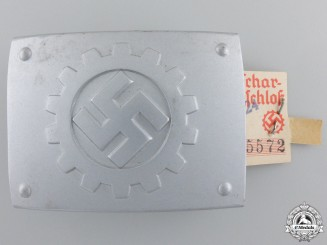 A Mint German Labour Front (DAF) Belt Buckle by Friedrich Lindin, Lüdenscheid