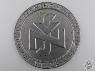 A National Social People's Welfare (NSV) Weser-Ems Door Plate