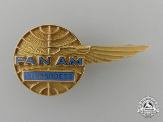 A Pan American Airlines Stewardess Badge in Gold