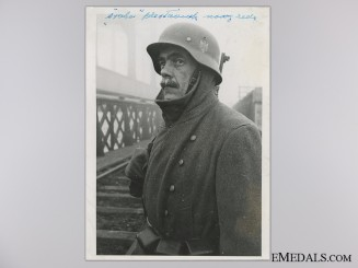A Period Photograph; German Guard on a Railway Bridge in Bosnia