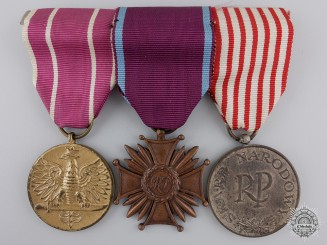 A Polish Medal Bar with Three Awards