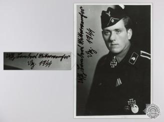 A Post War Signed Photograph of a Knight's Cross Recipient