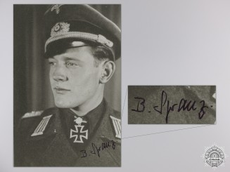 A Post War Signed Photograph of a Knight's Cross with Oakleaves Recipient