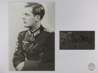 A Post War Signed Photograph of Knight's Cross Recipient; Bodo Spranz