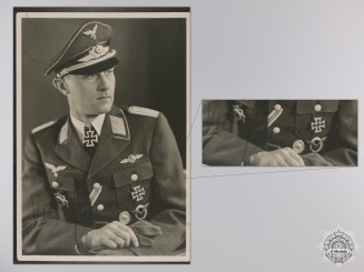 A Post War Signed Photograph of Knight's Cross Recipient; Viktor Petermann