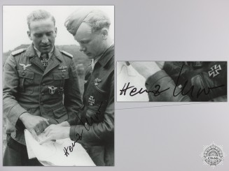 A Post War Signed Photograph of Knight's Cross Recipient; Meyer