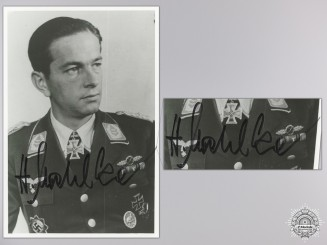 A Post War Signed Photograph of Knight's Cross Recipient; Helmut Mahlke