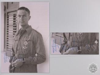 A Post War Signed Photograph of Knight's Cross Recipient; Helmut Mahlke