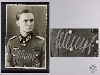 A Post War Signed Photograph of Knight's Cross Recipient; Joachim Menzel