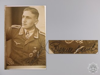 A Post War Signed Photograph of Knight's Cross Recipient; Berner