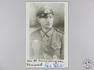 A Post War Signed Photograph of Knight's Cross Recipient; Nöbel