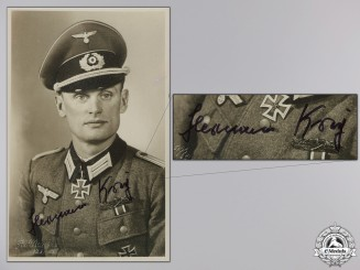A Post War Signed Photograph of Knight's Cross Recipient; Krey