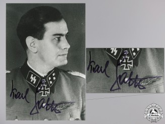 A Post War Signed Photograph of Knight's Cross Recipient; Sattler