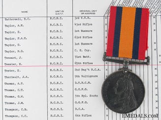 A Queen's South Africa Medal to the Royal Canadian Regiment