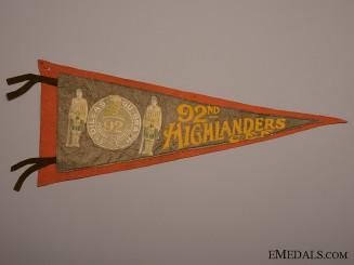 A Rare 92nd Highlanders CEF Pennant