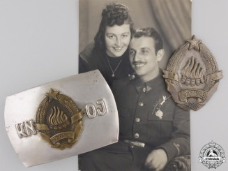 Yugoslavia, Republic. A Rare Corpus of National Defence Buckle, Badge & Photograph, c.1944