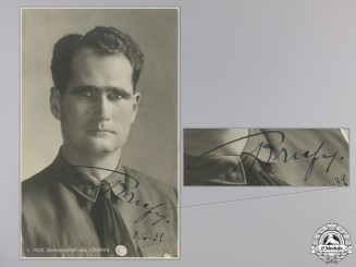 A Rare Rudolf Hess Signature 8.6.1939