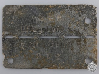 A Second War Allied POW ID Tag; Officers' Camp 4