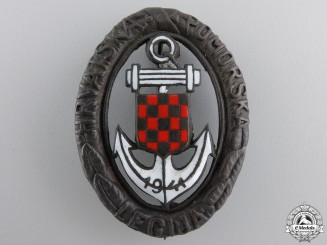 Croatia, Independent State. A Naval Badge, Type II, c.1943