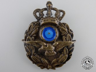 A Second War Greek Royal Hellenic Air Force Cap Badge