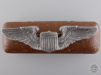 A Second War Silver Army Air Force Pilot Badge with Cased
