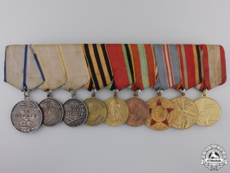 Russia, Soviet Union. A Nine Piece Medal Bar