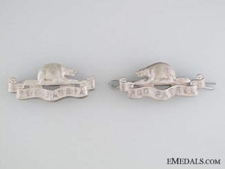 A Set of Royal Canadian Regiment Militia Officier's Collar Badges