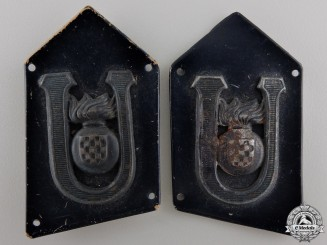 A Set of Second War Croatian Collar Tabs of Armoured Units 1941-45