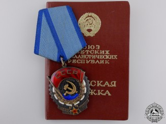 A Soviet Order of the Red Banner of Labour; Type VI with Award Booklet