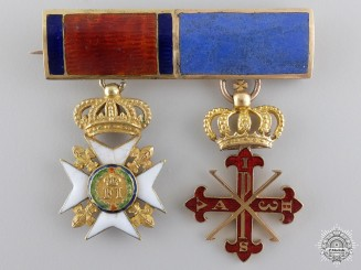 Sicily, Kingdom. A Fine Miniature Order Pair in Gold, c.1850