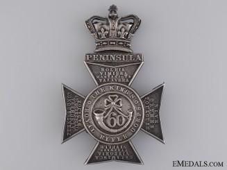 An 1883 Silver Victorian 60th King's Royal Rifles Helmet Plate