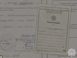 A Waffen SS Driver's Licence Issued to the 4th SS Panzer Artillery Regiment