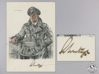 A Wartime Signed Kreigsmarine Knight's Cross Winner Postcard; Schultze