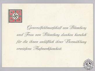 A Wedding Attendance Thank You Card from Generalfeldmarschall Werner von Blomberg