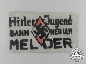An Early Handcrafted HJ Bann Neu-Ulm Messenger's Armband; Named to Karl Tauber