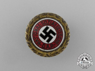 A Golden NSDAP Party Badge to Adolf Rammer; SS-Untersturmführer