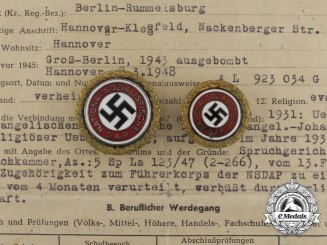 Two Golden Party Badges to Ortsgruppenleiter Beister; Führer Corps of the NSDAP