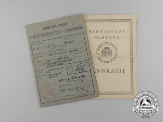 A Hamburg ID Card and Work Passport to Hellmut Libowski