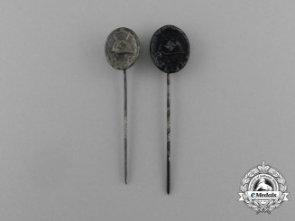 A Grouping of Miniature Two Second War German Wound Badge Stick Pins