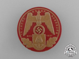 """A 1937 """"15 Years of NSDAP in Augsburg"""" Celebration Badge by E. O Friedrich"""
