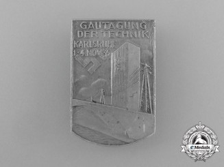 A 1935 Karlsruhe Regional Expedition of Technology Event Badge by B.H Mayer